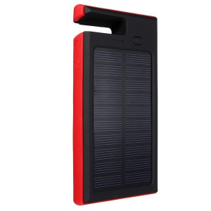 8000mAh Solar Charger Dual USB Port Power Bank for iPhone Samsung LG Red Colour