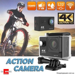 Ultra 4K HD1080P Waterproof Sport Action Camera Supports WiFi Helmet Mounting Black Colour