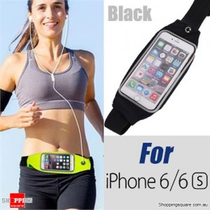 Rain Waterproof Outdoor Sports Running Fitness GYM Waist Bag with Adjustable Belt for iPhone 6 6S Black Colour