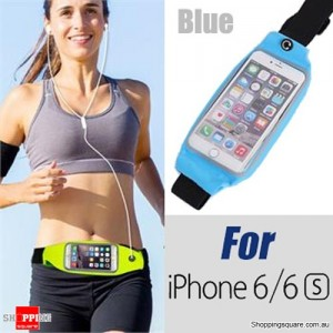 Rain Waterproof Outdoor Sports Running Fitness GYM Waist Bag with Adjustable Belt for iPhone 6 6S Blue Colour