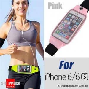 Rain Waterproof Outdoor Sports Running Fitness GYM Waist Bag with Adjustable Belt for iPhone 6 6S Pink Colour