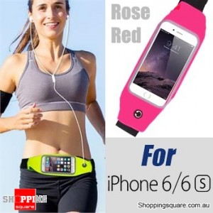 Rain Waterproof Outdoor Sports Running Fitness GYM Waist Bag with Adjustable Belt for iPhone 6 6S Rose Red Colour