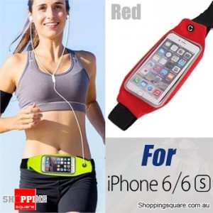 Rain Waterproof Outdoor Sports Running Fitness GYM Waist Bag with Adjustable Belt for iPhone 6 6S Red Colour