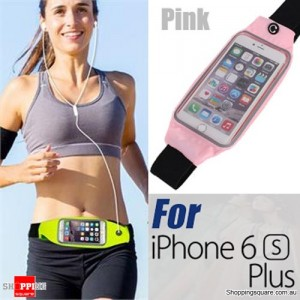 Rain Waterproof Outdoor Sports Running Fitness GYM Waist Bag with Adjustable Belt for iPhone 6 Plus/6S Plus Pink Colour