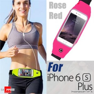 Rain Waterproof Outdoor Sports Running Fitness GYM Waist Bag with Adjustable Belt for iPhone 6 Plus/6S Plus Rose Red Colour