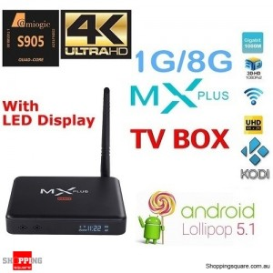 MX Plus II Amlogic S905 4K Quad Core Android 5.1.1 Smart TV BOX 1GB/8GB KODI XBMC Network Streamer Media Player Black Colour