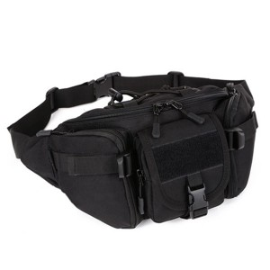Men's Nylon Crossbody Bag Outdoor Sports Hiking Travel Riding Waist Bag Black Colour