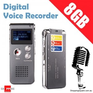 8GB Digital Voice Recorder MP3 Player Rechargeable Dictaphone with Speaker LCD Display Grey Colour