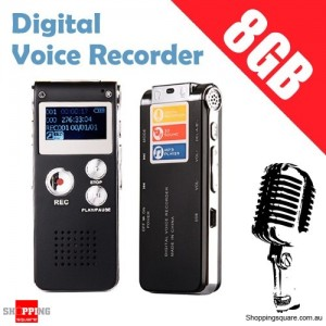 8GB Digital Voice Recorder MP3 Player Rechargeable Dictaphone with Speaker LCD Display Black Colour