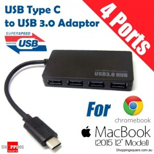 3.1 Type C to USB 3.0 A 4 Ports USB Hub Adapter Connector for 2015 Macbook 12 Inch Black Colour