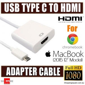 USB3.1 Type C to HDMI 1080P HDTV Adapter Cable For Macbook 2015 12 Inch Chromebook PC Laptop