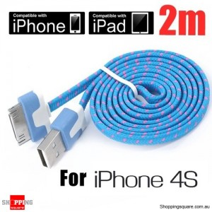 2m Nylon Braided USB Data Charger Cable for iPhone 4S 4 ipad ipod 2 3 3G Blue Colour