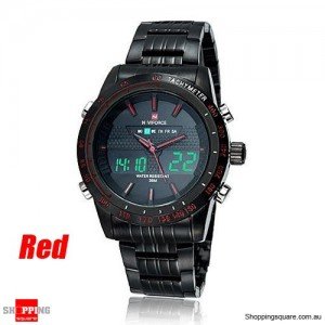 Mens Naviforce NF9024 Military Army Style Wrist Watch Dual Display with Week & Date Red Colour