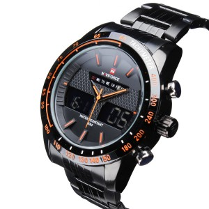 Mens Naviforce NF9024 Military Army Style Wrist Watch Dual Display with Week & Date Orange Colour