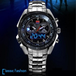 Mens TVG 468 3 Dial Analog-Digital Military Style Wrist Watch with LED Display Black Colour