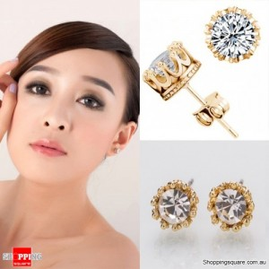 Gold Colour Plated 8MM Crown Stud Earrings with Round CZ Cubic Zirconia Silver Crystal