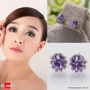Silver Colour Plated 8MM Crown Stud Earrings with Round CZ Cubic Zirconia Purple Crystal