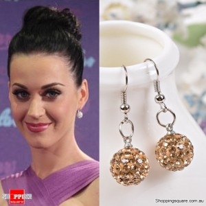 Ladies Shamballa Inspired Sparkly Crystal Disco Ball Stylish 925 Silver Earrings Jewellery Gold Colour