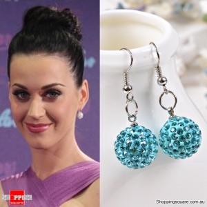 Ladies Shamballa Inspired Sparkly Crystal Disco Ball Stylish 925 Silver Earrings Jewellery Light Blue Colour