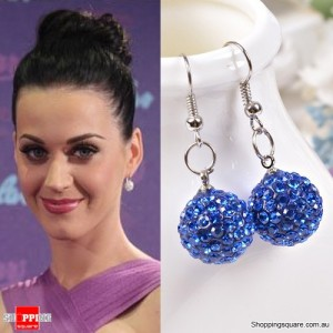 Ladies Shamballa Inspired Sparkly Crystal Disco Ball Stylish 925 Silver Earrings Jewellery Deep Blue Colour