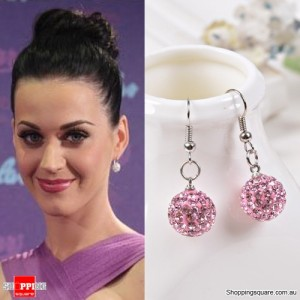 Ladies Shamballa Inspired Sparkly Crystal Disco Ball Stylish 925 Silver Earrings Jewellery Purple Colour
