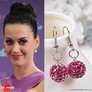 Ladies Shamballa Inspired Sparkly Crystal Disco Ball Stylish 925 Silver Earrings Jewellery Hot Pink Colour