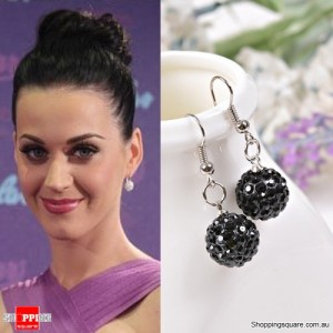 Ladies Shamballa Inspired Sparkly Crystal Disco Ball Stylish 925 Silver Earrings Jewellery Black Colour