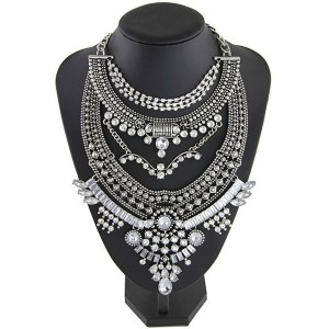 Vintage Bib Rhinestone Crystal Choker Necklace For Women Antique Silver Colour
