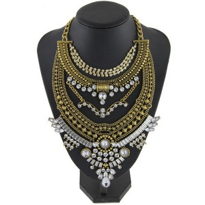 Vintage Bib Rhinestone Crystal Choker Necklace For Women Bronze Colour