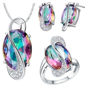 18K Platinum Plated Zircon Gemstone Oval Shape Jewelry Set Size 7