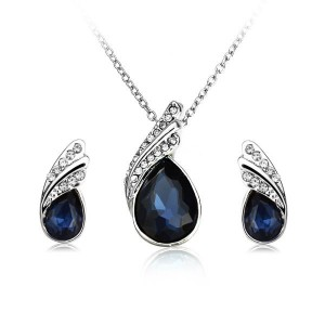 Crystal Water Drop Necklace Earrings Jewelry Set Silver Plated Dark Blue Colour