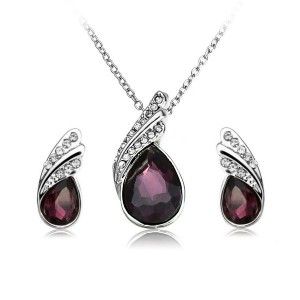 Crystal Water Drop Necklace Earrings Jewelry Set Silver Plated Dark Purple Colour