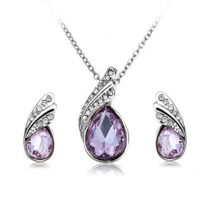 Crystal Water Drop Necklace Earrings Jewelry Set Silver Plated Purple Colour