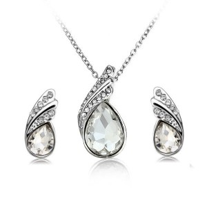 Crystal Water Drop Necklace Earrings Jewelry Set Silver Plated White Colour