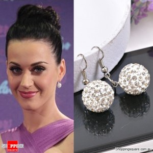 Ladies Shamballa Inspired Sparkly Crystal Disco Ball Stylish 925 Silver Earrings Jewellery White Colour