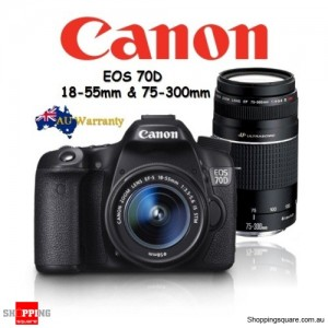 Canon EOS 70D 18-55MM STM & 75-300MM III USM Twins Lens Kit DSLR Camera