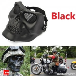 Tactical Military Skull Skeleton Full Face Security Mask for War Game Hunting Costume Party Black Colour