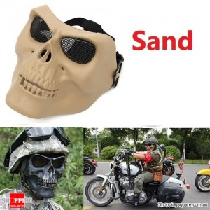 Tactical Military Skull Skeleton Full Face Security Mask for War Game Hunting Costume Party Sand Colour