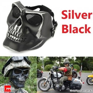 Tactical Military Skull Skeleton Full Face Security Mask for War Game Hunting Costume Party Silver Black Colour