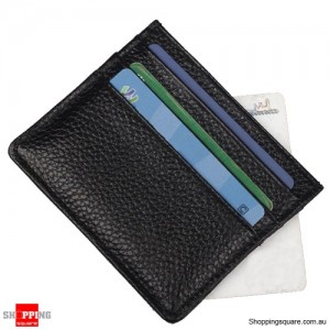 Slim Leather Mini Holder Wallet Purse for ID Credit Bank ATM Card Black Colour