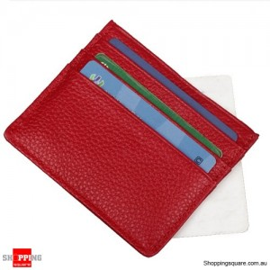 Slim Leather Mini Holder Wallet Purse for ID Credit Bank ATM Card Red Colour
