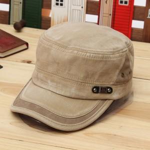Unisex Vintage Military Washed Cadet Hat Army Plain Flat Cap Beige Colour
