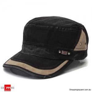 Unisex Vintage Military Washed Cadet Hat Army Plain Flat Cap Black Colour