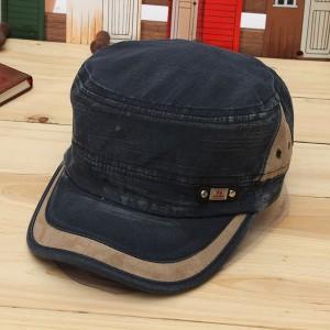Unisex Vintage Military Washed Cadet Hat Army Plain Flat Cap Blue Colour