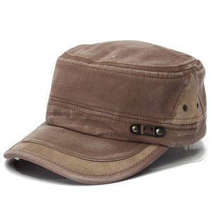 Unisex Vintage Military Washed Cadet Hat Army Plain Flat Cap Light Brown Colour