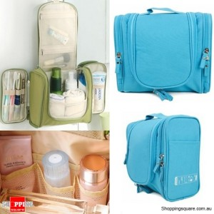 Waterproof Toiletry Cosmetics Makeup Carry Bag Case for Travelling Blue Colour