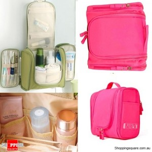 Waterproof Toiletry Cosmetics Makeup Carry Bag Case for Travelling Hot Pink Colour
