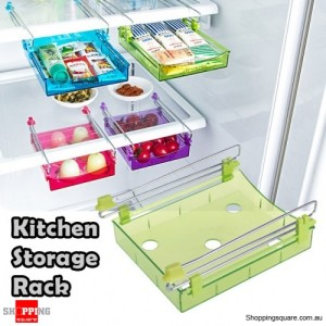 Portable Freezer Refrigerator Drawer Organisers Rack for Kitchen Food Transparent Green Colour