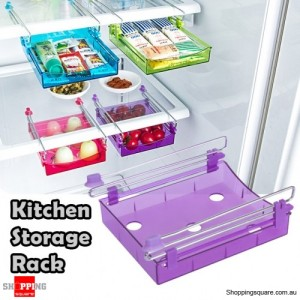 Portable Freezer Refrigerator Drawer Organisers Rack for Kitchen Food Transparent Purple Colour