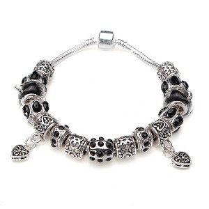 Murano Glass Crystal Bracelet with 925 Silver Plated Beads Black Colour 20cm